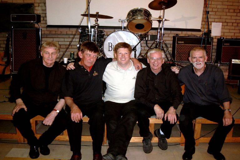 David (centre) with the original Quarrymen